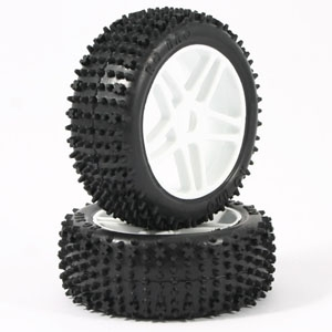 Hobao 1/8 Spike Mounted Tyres W/White Spoke (Pr)