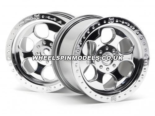 HPI 6 Spoke Wheel - Chrome - 83x56mm - 14mm Hex - (pair)