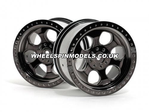 HPI 6 Spoke Wheel - Black Chrome - 83x56mm - 14mm Hex - (pair)
