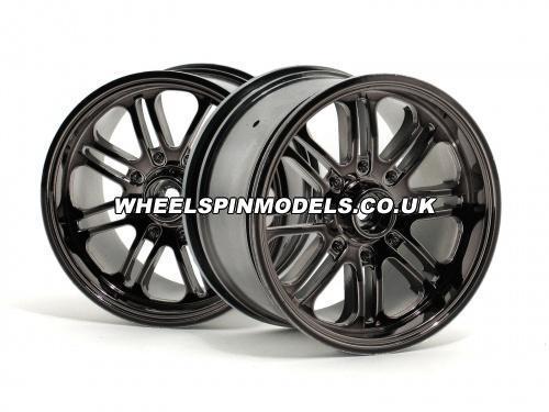 HPI 8 Spoke Wheel - Black Chrome - 83x56mm - 14mm Hex - (pair)