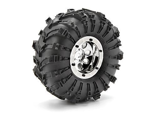 Rock 8 Beadlock 2.2 Inch Wheel - Chrome - Pair
