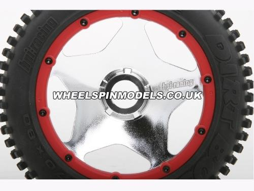 HPI Baja 5B Super Star Wheel - Shiny Chrome - Rear - Pair