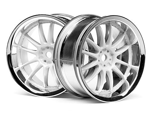 Work XSA 03C Touring Car Wheel 26mm Chrome/White (3mm Offset 2 Pcs) ** CLEARANCE **
