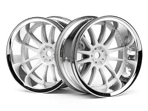 Work XSA 03C Touring Car Wheel 26mm Chrome/White (9mm Offset 2 Pcs)