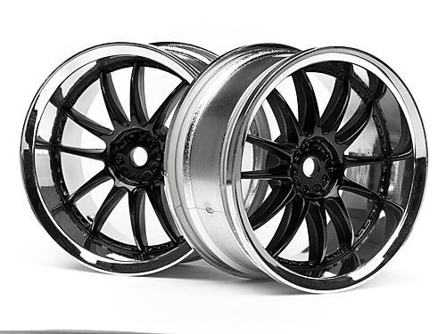 Work XSA 03C Touring Car Wheel 26mm Chrome/Black (3mm Offset 2 Pcs)