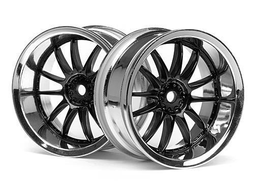 Work XSA 03C Touring Car Wheel 26mm Chrome/Black (6mm Offset 2 Pcs)