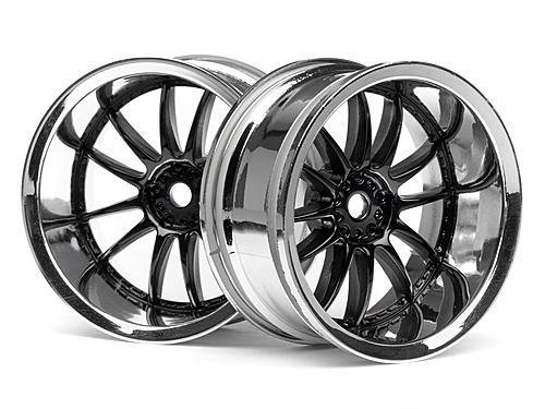 Work XSA 03C Touring Car Wheel 26mm Chrome/Black (9mm Offset 2 Pcs)