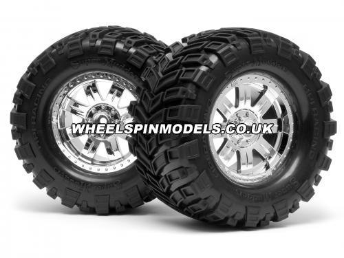 HPI Super Mudders Tyres Pre Glued on Chrome Ringz Wheels (14mm Hex)