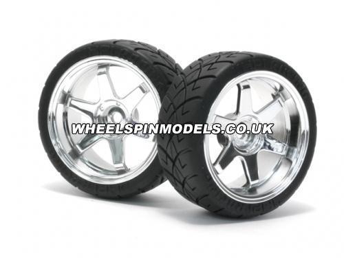 X Pattern Tyre D Cmpd. on TE37 Chrome Rim 0mm Offset