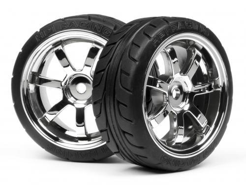 Mounted T-Grip Tire 26mm On Rays 57S-Pro Chrome Rim (2Pcs)