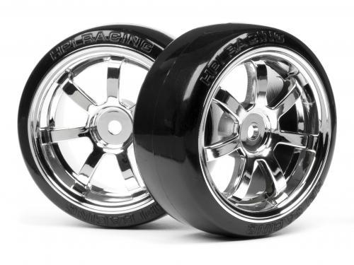 Mounted T-Drift Tire 26mm On Rays 57S-Pro Chrome Rim (2Pcs)