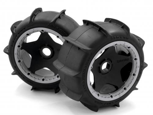 HPI Baja 5B Sand Buster Paddle Tyres - Mounted On Rear Black Wheels - Pair  ** CLEARANCE **