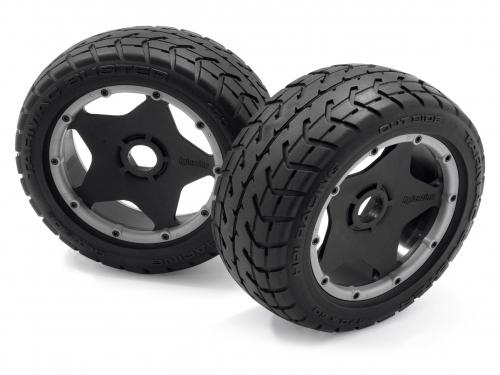 HPI Baja 5B Tarmac Buster Tyres - Mounted on Rear Black Wheels - Pair