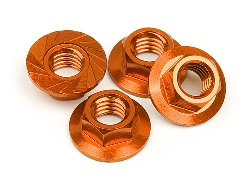 Serrated Flange Nut M4 (Orange/4pcs)