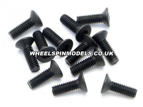 Flat Head Screw M2.6x8mm 2.0mm Hex Socket (12Pcs)