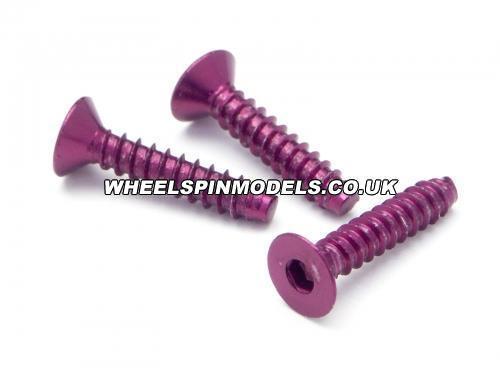 Aluminium TP Flat Head Screw (3x15mm Hex Head Purple/5Pcs) ** CLEARANCE **