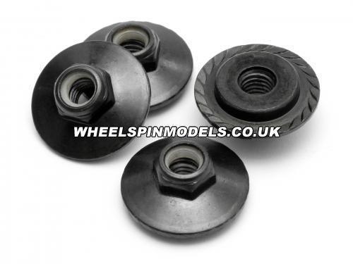 Flanged Lock Nut M5x8mm Black (4pcs) for Savage X Wheels