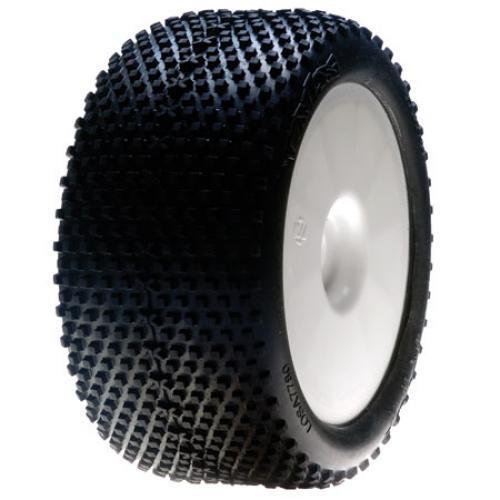 1/8 XTT Truggy Tyres Blue Compound Mounted on White Wheels 0 0ffset (2)