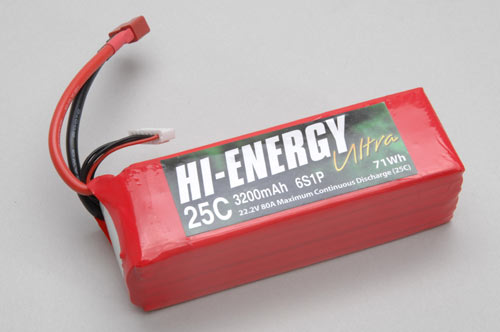 Hi-Energy 6S 3200mAh 25C Li-Po With Deans