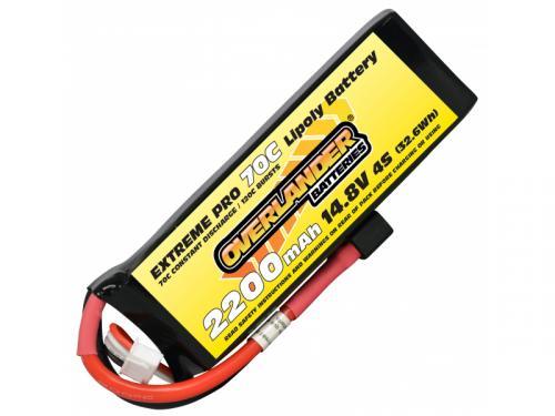 2200mAh 4S 14.8v 70C LiPo Battery - Overlander Extreme Pro - Deans