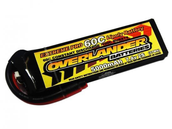 5000mAh 2S 7.4v 70C LiPo Battery - Overlander Extreme Pro