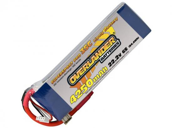 4250mAh 6S 22.2v 35C LiPo Battery - Overlander Supersport