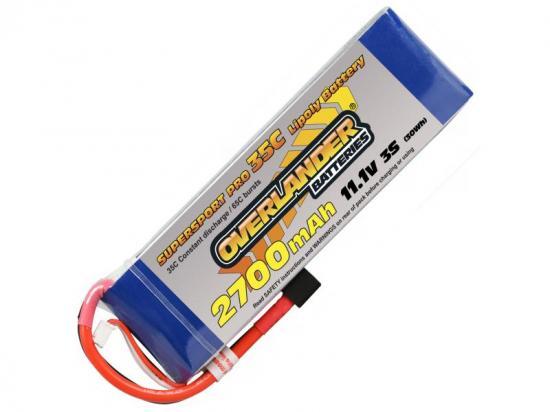 2700mAh 3S 11.1v 35C LiPo Battery - Overlander Supersport - Deans