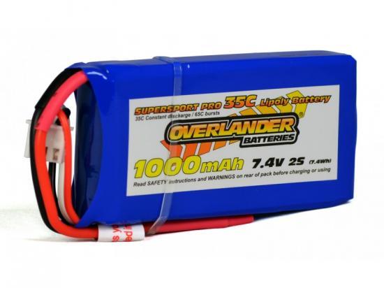 1000mAh 2S 7.4v 35C LiPo Battery - Overlander Supersport Pro