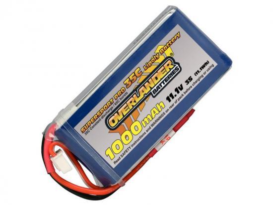 1000mAh 3S 11.1v 35C LiPo Battery - Overlander Supersport
