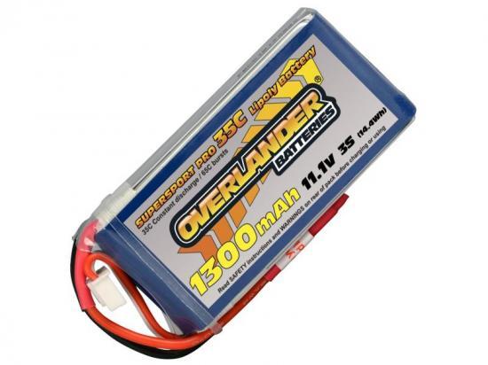 1300mAh 3S 11.1v 35C LiPo Battery - Overlander Supersport