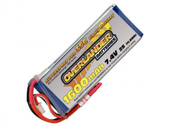 1600mAh 2S 7.4v 35C LiPo Battery - Overlander Supersport