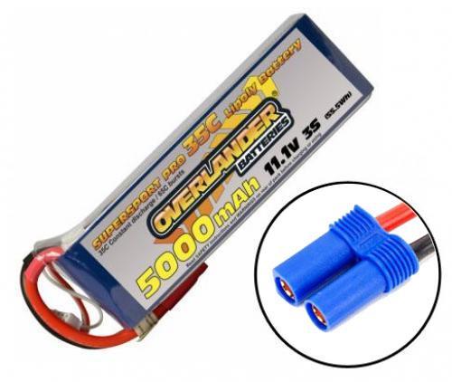 Overlander 5000mAh 3S 11.1v 35C LiPo Battery - Overlander Supersport - EC5 Connector