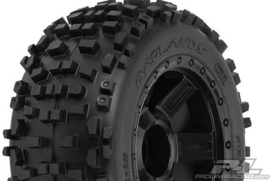 ProLine Badlands 3.8 Mounted on Black Desparado 1/2 Inch Offset Wheels - 17mm Hex