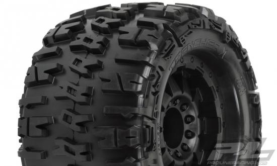 ProLine Trencher 3.8 Tyres Mounted on Black F-11 Offset 17mm Hex Wheels