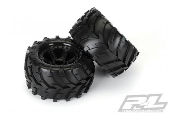 ProLine Masher 2.8 Pre Mounted on Black Desperado Wheels (2) - Fits Traxxas Electric 2WD Front / Nitro Rear