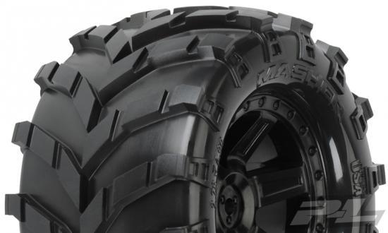 ProLine Masher 2.8 Pre Mounted on Black Desperado Wheels (2) - Fits Traxxas Electric Rear