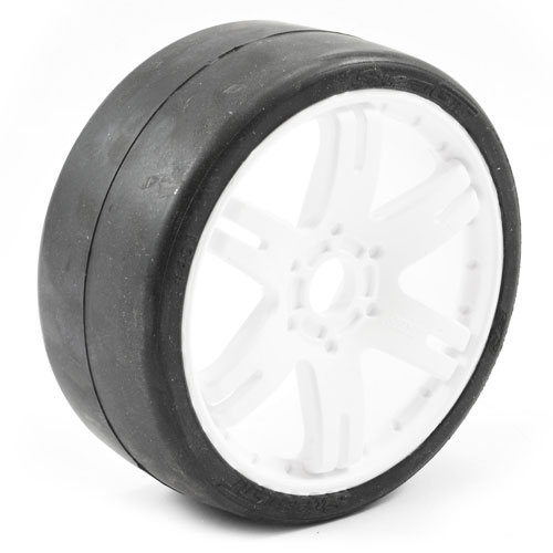 Sweep 1:8 GT Slick 50 Degree Tyres on White 6IX 17mm Hex Wheels (2)