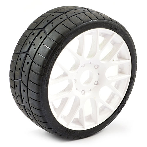 Sweep 1:8 EXP GT Tread Belted 40 Degree Tyres on White EVO16 17mm Hex Wheels (2)