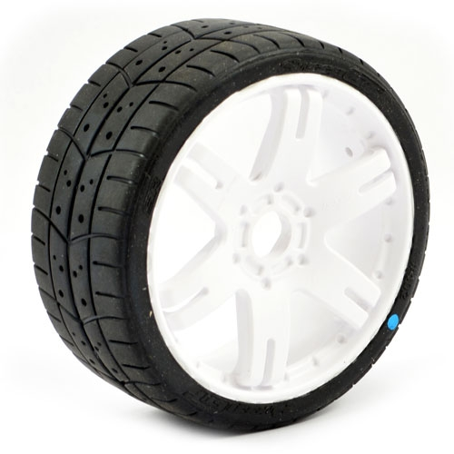 Sweep 1:8 GT Tread Belted Tyres on White 6IX 17mm Hex Wheels (2)