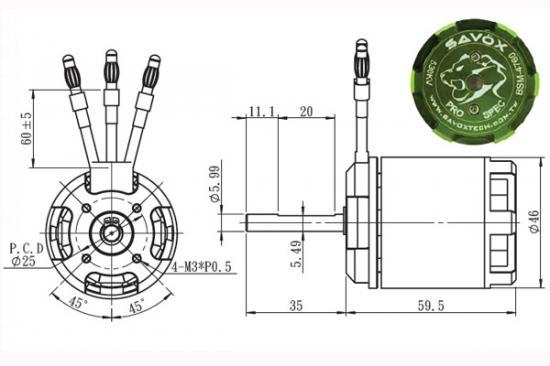 Savox Outrunner Motor - BSM4760 530KV (700)
