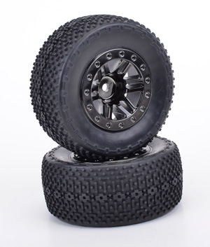 Schumacher Bar and Spike Short Course Tyres - Mounted on Black Chrome Wheels (2)