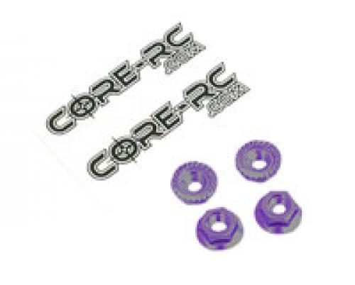 Core RC - Serrated Alloy M4 Nuts; Purple pk 4