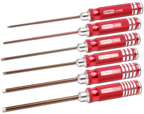 EDS Hex Driver Tool Set - 1.5 2.0 2.5 3.0 4.0 & 5.0 X 120mm - 6 Pieces