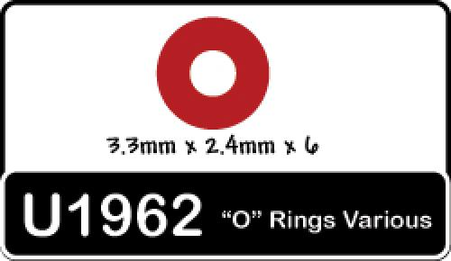 Speed Pack - O Rings3.3x2.4ID - pk6 ** CLEARANCE **