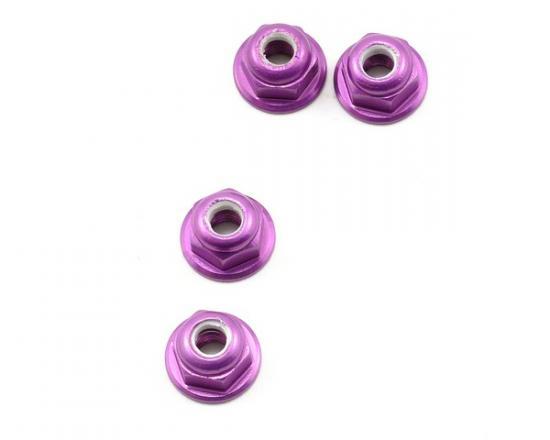 M4 Nylock Flanged Wheel Nut - Purple Alloy (pk4)