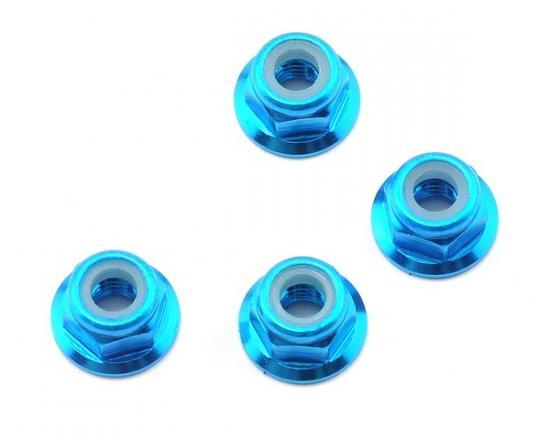 M4 Nylock Flanged Wheel Nut - Blue Alloy (pk4)