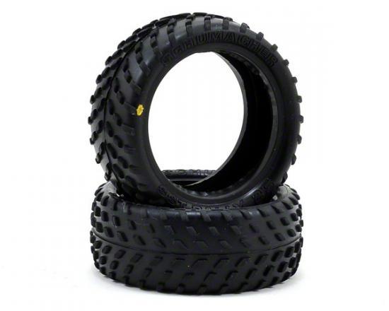 Schumacher Yellow SST Rally Touring Car Tyres - 24/25mm Width - Pair