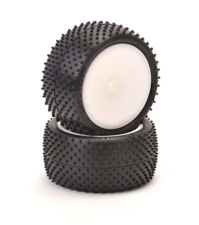 Schumacher Mini Dart Buggy Tyres - 1:10 Rear - Yellow - 1 Pair Pre Glued on Wheels