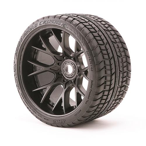Sweep Road Crusher Belted Road Truggy/MT Tyres on Black 17mm Hex - 1/4 Inch Offset Wheels - 1 Pair