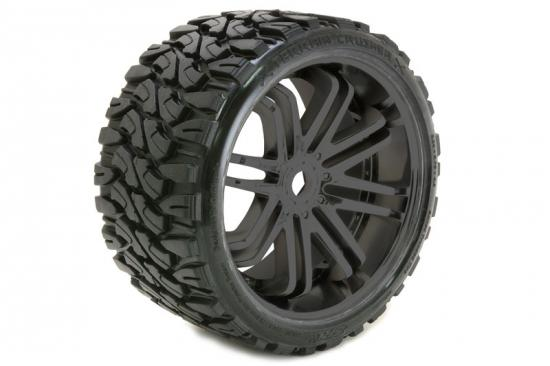 Sweep Terrain Crusher Belted Tyres Mounted on Black 17mm Hex 1/4 Inch Offset Wheels - 1 Pair